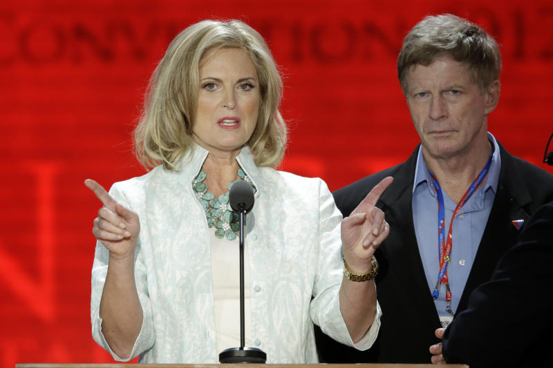 Ann Romney, wife of U.S. Republican presidential candidate Mitt Romney, looks over the podium during a sound check at the Republican National Convention in Tampa, Fla., on Tuesday, Aug. 28, 2012. (AP Photo/J. Scott Applewhite)