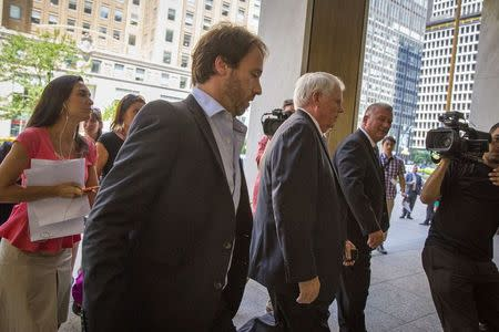 Argentina's Economy Ministry's Legal and Technical Secretary, arrives at the office of a court-appointed mediator in New York