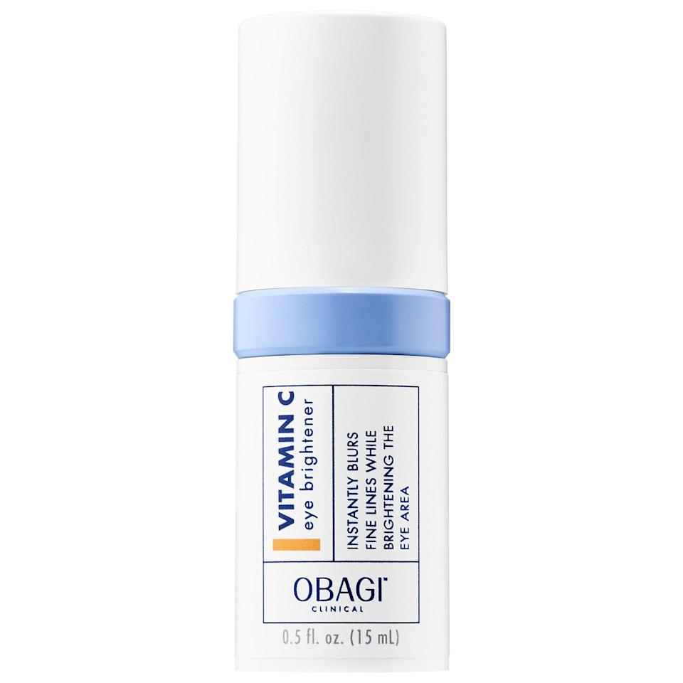 """<p>The <a href=""""https://www.popsugar.com/buy/Obagi-Clinical-Vitamin-C-Eye-Brightener-553527?p_name=Obagi%20Clinical%20Vitamin%20C%20Eye%20Brightener&retailer=sephora.com&pid=553527&price=60&evar1=bella%3Auk&evar9=47275268&evar98=https%3A%2F%2Fwww.popsugar.com%2Fbeauty%2Fphoto-gallery%2F47275268%2Fimage%2F47275273%2FObagi-Clinical-Vitamin-C-Eye-Brightener&list1=shopping%2Csephora%2Ceye%20cream%2Cvitamin%20c%2Cbeauty%20shopping&prop13=api&pdata=1"""" rel=""""nofollow noopener"""" class=""""link rapid-noclick-resp"""" target=""""_blank"""" data-ylk=""""slk:Obagi Clinical Vitamin C Eye Brightener"""">Obagi Clinical Vitamin C Eye Brightener</a> ($60) features <a href=""""https://www.popsugar.co.uk/beauty/Vitamin-C-Benefits-45161355"""" class=""""link rapid-noclick-resp"""" rel=""""nofollow noopener"""" target=""""_blank"""" data-ylk=""""slk:tetrahexyldecyl ascorbate"""">tetrahexyldecyl ascorbate</a>, a more stable form of vitamin C - and 90 percent of the Sephora shoppers who reviewed it would recommend it to others. That vitamin C brightens skin around the eye area, while adaptogens like rhodiola rosea support collagen and elastin production for firmer, suppler skin.</p>"""
