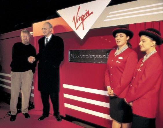New arrival: Richard Branson at the launch of Virgin Trains in 1997 (Virgin Trains)