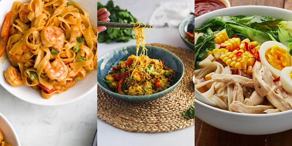 """<p>In an ideal world, we'd have noodles for breakfast, lunch and dinner. But for now, we'll just stick to having them for dinner (or lunch), when we're after something super-speedy and delicious. Whether that's <a href=""""https://www.delish.com/uk/cooking/recipes/a30607809/chicken-broth/"""" rel=""""nofollow noopener"""" target=""""_blank"""" data-ylk=""""slk:Chicken Broth with Noodles"""" class=""""link rapid-noclick-resp"""">Chicken Broth with Noodles</a>, <a href=""""https://www.delish.com/uk/cooking/recipes/a35137422/crack-noodles-recipe/"""" rel=""""nofollow noopener"""" target=""""_blank"""" data-ylk=""""slk:Spicy Chilli Garlic Noodles"""" class=""""link rapid-noclick-resp"""">Spicy Chilli Garlic Noodles</a> or <a href=""""https://www.delish.com/uk/cooking/recipes/a36227169/singapore-noodles/"""" rel=""""nofollow noopener"""" target=""""_blank"""" data-ylk=""""slk:Singapore Noodles"""" class=""""link rapid-noclick-resp"""">Singapore Noodles</a>. So, if you're noodle-obsessed like us, then be sure to take a look at our top 16 favourite noodle recipes. </p>"""