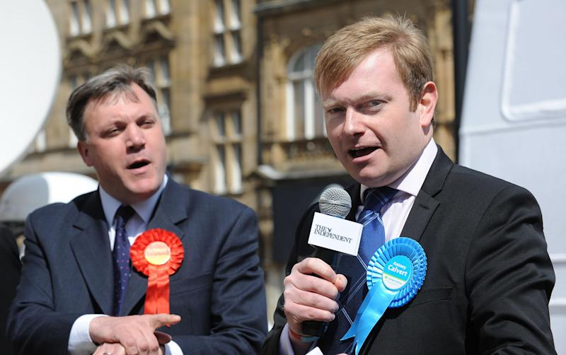 Antony Calvert Ed Balls, Labour MP, in a discussion with Conservative candidate Antony Calvert (right) during a head to head public debate with the other prospective MPs for the constituency of Morley and Outwood held in Morley town centre. . (Photo by Anna Gowthorpe/PA Images via Getty Images)