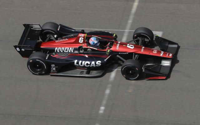 Robert Wickens, of Canada, drives during a practice session for the IndyCar Grand Prix auto race at Indianapolis Motor Speedway, in Indianapolis Friday, May 11, 2018. (AP Photo/Darron Cummings)