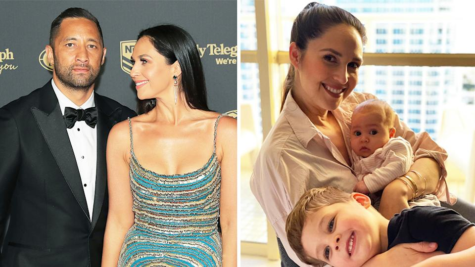 Zoe Marshall (pictured left) with husband and NRL star Benji Marshall and (pictured right) with her children.