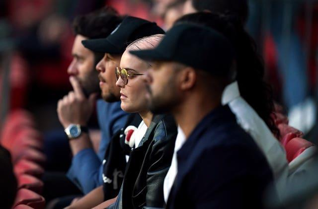 Pop star Anne-Marie watches on at Wembley
