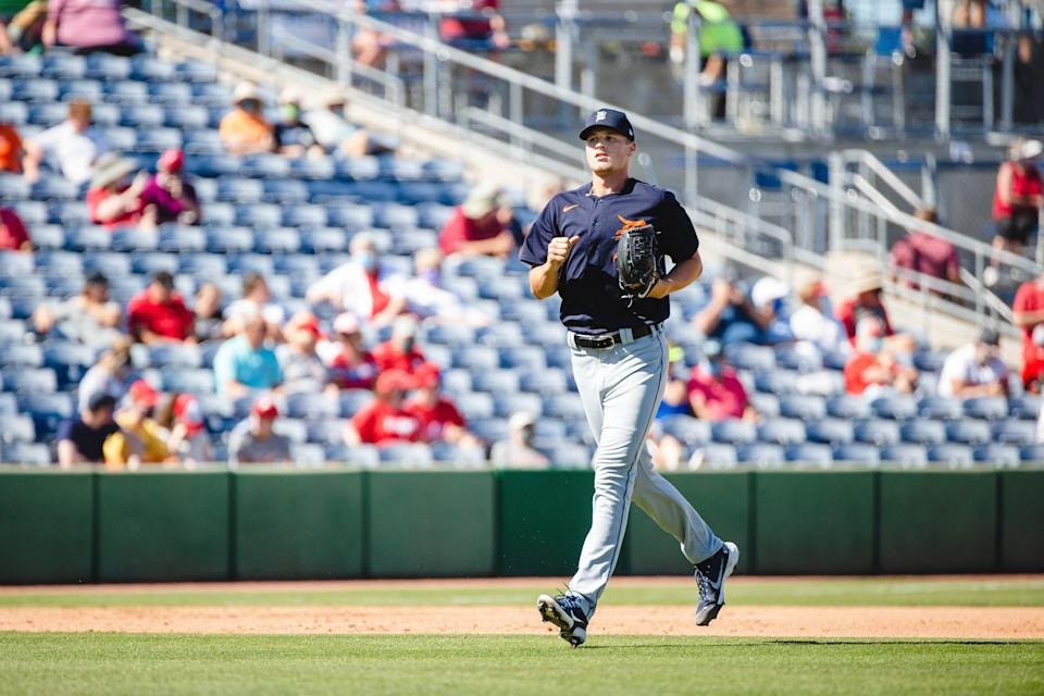 Detroit Tigers' Matt Manning during a game against the Philadelphia Phillies at BayCare Ballpark in Clearwater, Florida on March 10, 2021.