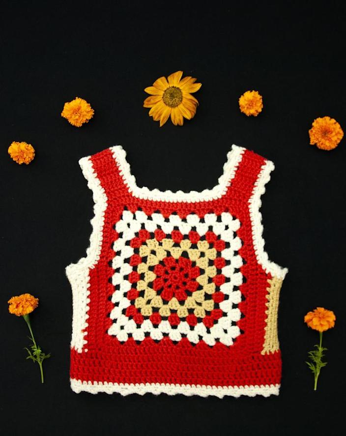 "<br> <br> <strong>RoseleinRarities</strong> Vintage Sleeveless Crochet Pullover Sweater Vest, $, available at <a href=""https://go.skimresources.com/?id=30283X879131&url=https%3A%2F%2Fwww.etsy.com%2Flisting%2F861894656%2Fvintage-granny-square-vest-sleeveless%3Fga_order%3Dmost_relevant%26ga_search_type%3Dall%26ga_view_type%3Dgallery%26ga_search_query%3Dcrochet%2Bsweater%2Bvest%2Bvintage%26ref%3Dsr_gallery-4-15%26organic_search_click%3D1%26frs%3D1"" rel=""nofollow noopener"" target=""_blank"" data-ylk=""slk:Etsy"" class=""link rapid-noclick-resp"">Etsy</a>"