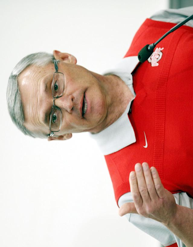 """Ohio State football coach Jim Tressel address members of the media during a news conference Wednesday, March 30, 2011, in Columbus, Ohio. Tressel apologized for letting people down by violating NCAA rules, calling it """"a difficult past couple of months."""" (AP Photo/Terry Gilliam)"""