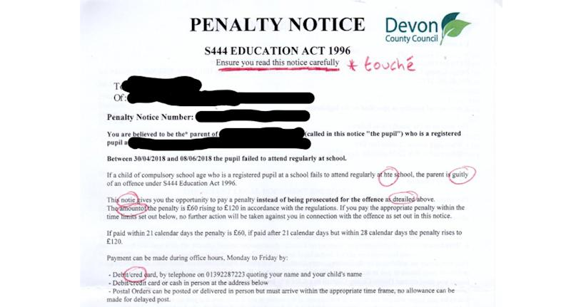 When Daniel Moore realised that the letter was riddled with spelling mistakes he decided to grade it with a red pen and several sassy comments