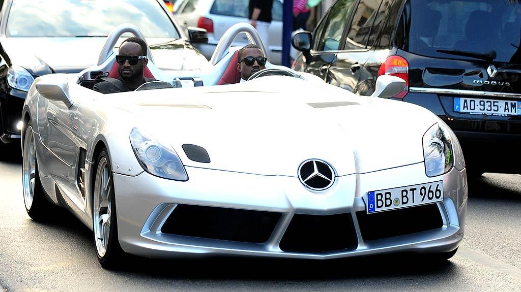"Kanye West certainly knows how to make an entrance! The 33-year-old rapper pulled up to the annual amfAR charity gala in Cannes, France, behind the wheel of a rare $1.7million Mercedes McLaren SLR Stirling Moss. (Only 75 exist!) Laurent Despois/<a href=""http://www.splashnewsonline.com/"" target=""new"">Splash News</a> - May 19, 2011"