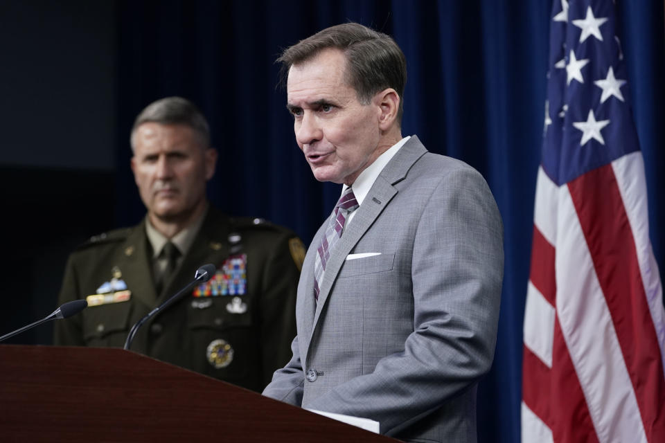 """Pentagon spokesman John Kirby, right, speaks as Army Maj. Gen. William """"Hank"""" Taylor, left, listens during a briefing at the Pentagon in Washington, Saturday, Aug. 28, 2021, on the situation in Afghanistan. (AP Photo/Susan Walsh)"""