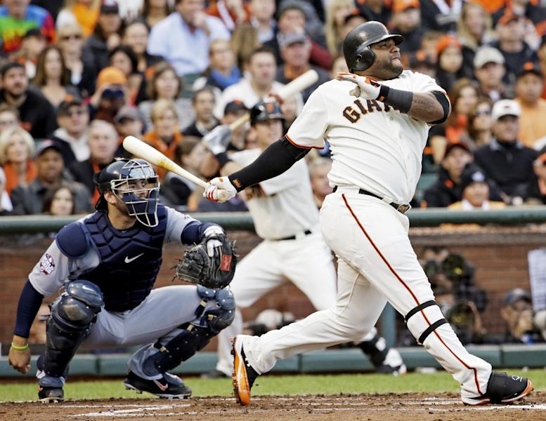San Francisco Giants' Pablo Sandoval hits a home run during the first inning of Game 1 of baseball's World Series against the Detroit Tigers Wednesday, Oct. 24, 2012, in San Francisco. (AP Photo/David J. Phillip)