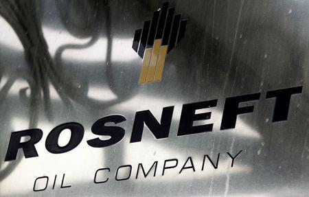 FILE PHOTO: A logo of Russian state oil firm Rosneft is seen at its office in Moscow