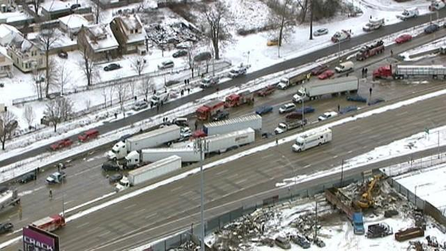 Fatal pileup on I-75 in Detroit.