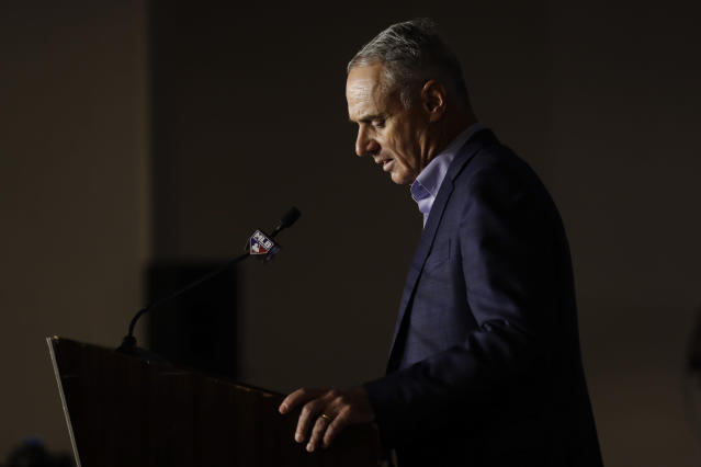 Commissioner Rob Manfred speaks during the Major League Baseball winter meetings Wednesday, Dec. 11, 2019, in San Diego. (AP)