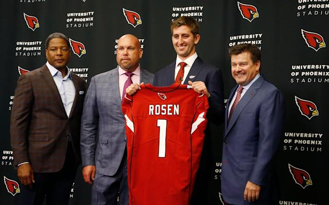 This was the scene last year at Cardinals headquarters with QB Josh Rosen, the 10th overall draft pick. (AP)