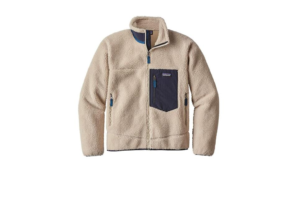 """<p>Nothing packs a punch in the warmth and texture departments quite like a hefty, fluffy Patagonia fleece.</p> <p><em>Patagonia classic Retro-X fleece jacket</em></p> $199, Patagonia. <a href=""""https://www.patagonia.com/product/mens-classic-retro-x-fleece-jacket/23056.html?dwvar_23056_color=NAT&cgid=mens-fleece#tile-3=&start=1&sz=24"""" rel=""""nofollow noopener"""" target=""""_blank"""" data-ylk=""""slk:Get it now!"""" class=""""link rapid-noclick-resp"""">Get it now!</a>"""