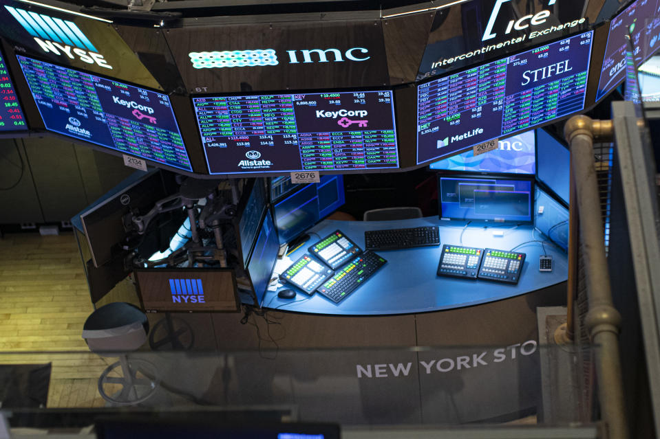 The empty trading floor is seen after the closing of the New York Stock Exchange