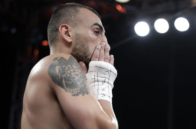 Vanes Martirosyan reacts after losing to Gennady Golovkin in a middleweight title boxing match, Saturday, May 5, 2018, in Carson, Calif. (AP Photo/Chris Carlson)