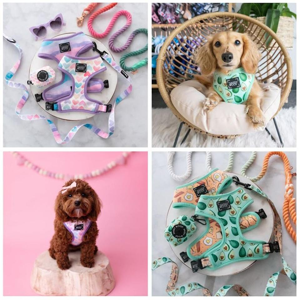 """<p>Show your #1 Valentine that you woof them very much with a totally pawsome (and stylish) matching harness and leash set. The Sassy Woof 's Valentine's Day bundles come with a coordinating harness, collar, leash and waste bag holder that will make your pooch the best accessorized dog in town.</p> <p><strong>Buy It!</strong> I Woof You Berry Much Bundle, $69.99; <a href=""""http://sassywoof.com/"""" rel=""""nofollow noopener"""" target=""""_blank"""" data-ylk=""""slk:SassyWoof.com"""" class=""""link rapid-noclick-resp"""">SassyWoof.com</a></p>"""