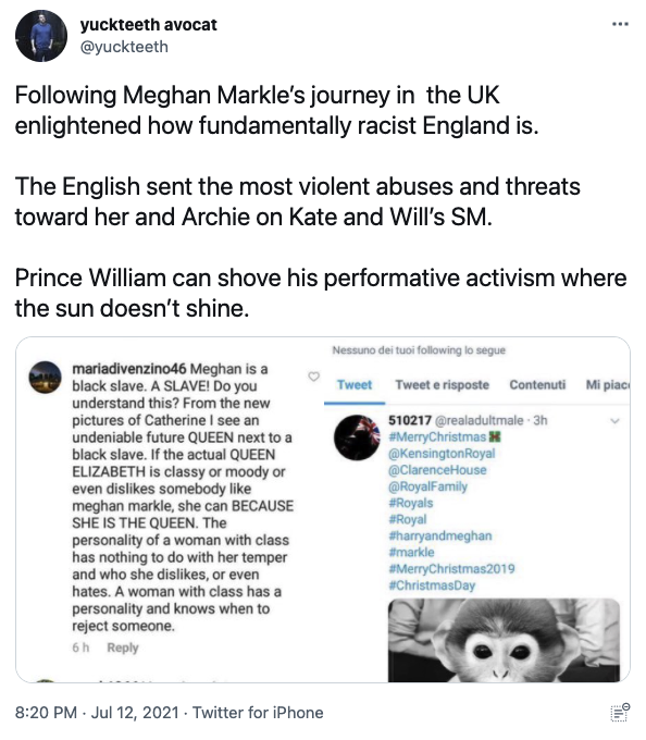 Tweet about Meghan Markle racial abuse