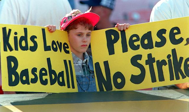 The strike would last 232 days, cancel 948 games and cost the owners about $580 million in revenue. (Getty Images)