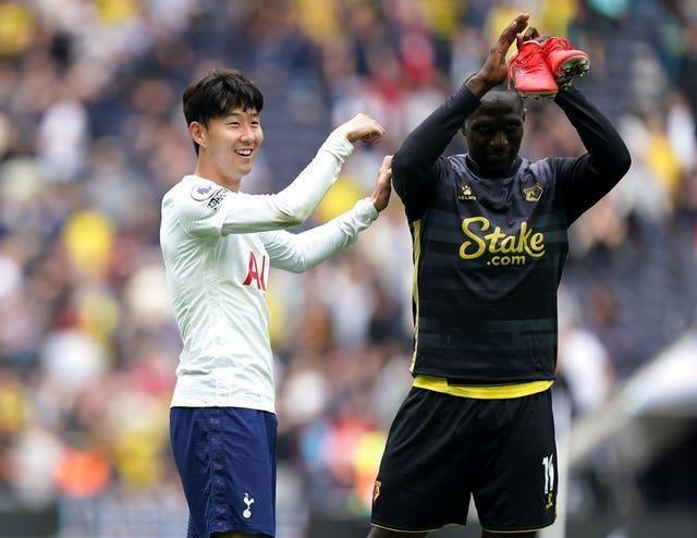 Son Heung-min (left) and Watford's Moussa Sissoko - who left Tottenham this week