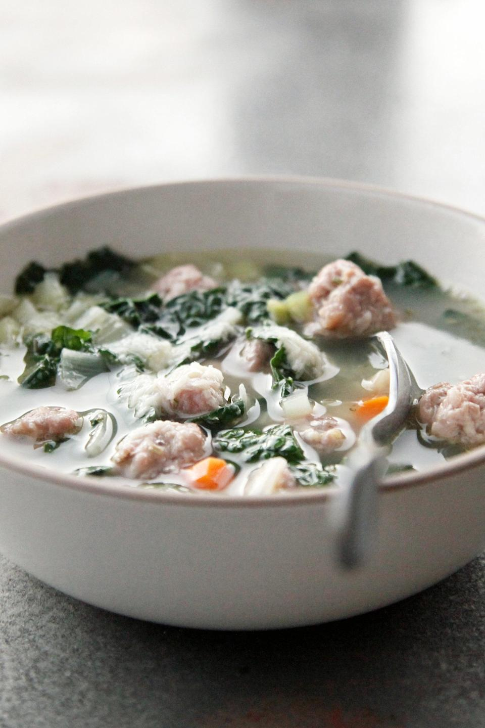 """<p><strong>Get the recipe:</strong> <a href=""""http://www.popsugar.com/food/Italian-Sausage-White-Bean-Kale-Soup-Recipe-7137171/"""" class=""""link rapid-noclick-resp"""" rel=""""nofollow noopener"""" target=""""_blank"""" data-ylk=""""slk:Italian sausage, white bean, and kale soup"""">Italian sausage, white bean, and kale soup</a><br> <strong>Cans needed:</strong> cannellini beans</p>"""