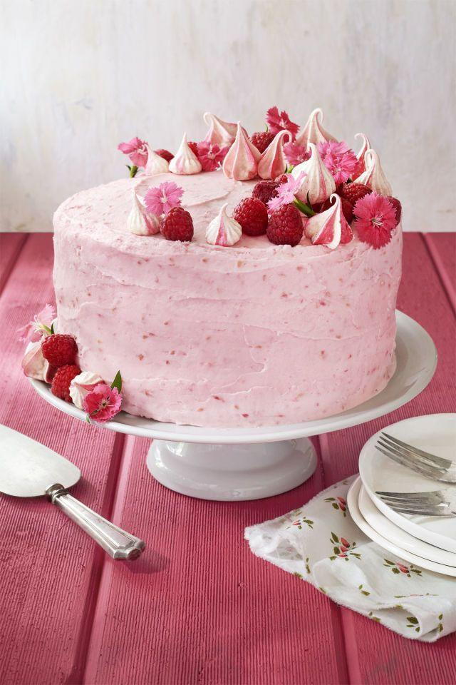 "<p>Pink hues and edible flowers give a delicate feel to this sweet cake.</p><p><strong><a href=""https://www.countryliving.com/food-drinks/recipes/a41986/raspberry-pink-velvet-cake-recipe/"" rel=""nofollow noopener"" target=""_blank"" data-ylk=""slk:Get the recipe"" class=""link rapid-noclick-resp"">Get the recipe</a>.</strong><br></p><p><strong><a class=""link rapid-noclick-resp"" href=""https://www.amazon.com/far-Stainless-Non-Toxic-Healthy-Dishwasher/dp/B07ZCVMCLT/?tag=syn-yahoo-20&ascsubtag=%5Bartid%7C10050.g.1138%5Bsrc%7Cyahoo-us"" rel=""nofollow noopener"" target=""_blank"" data-ylk=""slk:SHOP CAKE PANS"">SHOP CAKE PANS</a><br></strong></p>"