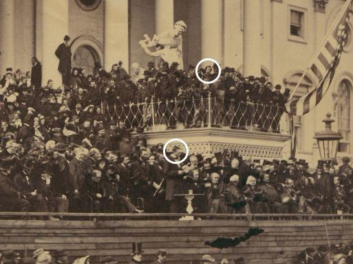 Abraham Lincoln (circled in the centre) at his inauguration on the same stage as John Wilkes Booth (circled top right).