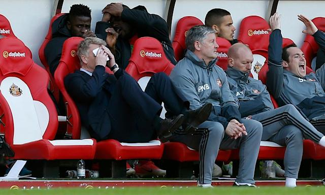 "<span class=""element-image__caption"">Sunderland manager David Moyes shows his frustration during the 2-2 draw with West Ham.</span> <span class=""element-image__credit"">Photograph: Ed Sykes/Reuters</span>"