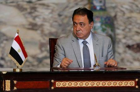 Egypt's Minister of Health and Population Dr. Imad Eddin attends a signing of agreements ceremony at the El-Thadiya presidential palace in Cairo