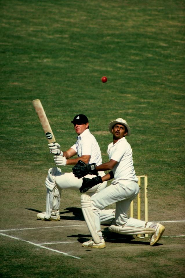 Dec 1981: Geoff Boycott of England sweeps the ball for four against the South Zone in Hyderabad, India. \ Mandatory Credit: Adrian Murrell/Allsport