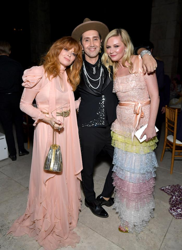 Natasha Lyonne, Adir Abergel, and Kirsten Dunst attend the fifth annual <em>InStyle</em> Awards at the Getty Center in Los Angeles on October 21, 2019.