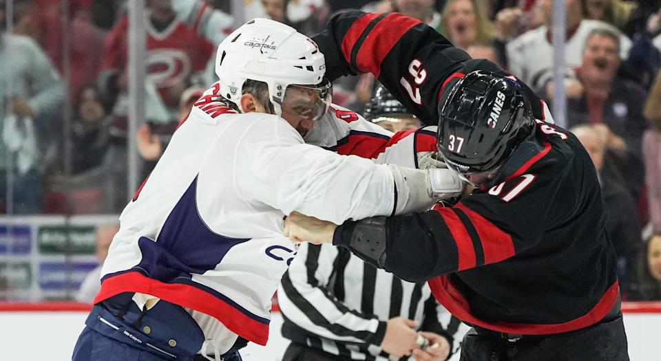 After being knocked out in a fight with the 'Great 8' in the opening round of NHL playoffs last spring, Andrei Svechnikov continues to show his respect to Alex Ovechkin. (Photo by Greg Thompson/Icon Sportswire via Getty Images)