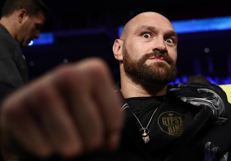 PHILADELPHIA, UNITED STATES - OCTOBER 18, 2019: British professional boxer Tyson Fury before a light heavyweight world title unification boxing fight between IBF belt-holder Artur Beterbiev of Russia and WBC titlist Oleksandr Gvozdyk of Ukraine at the Liacouras Center in Philadelphia, Pennsylvania, United States. Valery Sharifulin/TASS (Photo by Valery Sharifulin\TASS via Getty Images)