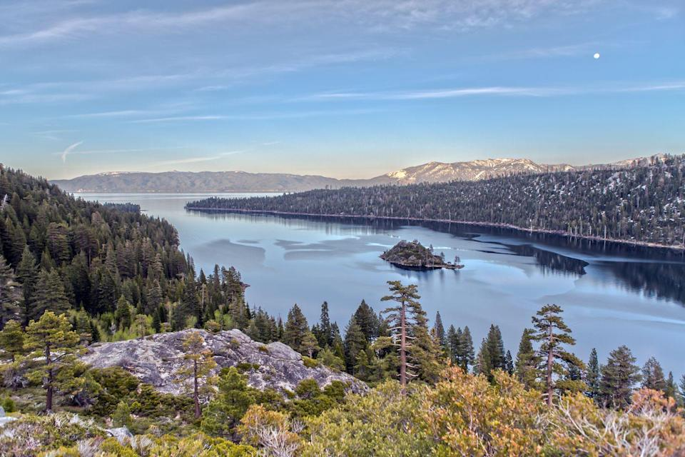 <p>Lake Tahoe is the largest alpine lake in North America, meaning that its crystal clear water is mostly snow melted down from the Sierra Nevada Mountains. With forests, lakeshore, and plenty of hills, this is the perfect trail running escape.</p>