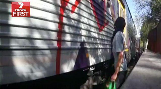 Graffiti damage on the rail network costs the state $30 million a year, or more than $80,000 every single day. Image: 7News