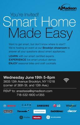 Want to get smart but don't know where to start? Visit us at AJ Madison Wednesday, June 19th, in our Brooklyn Showroom from 5 to 8 PM. This event is free and the first of its kind, open to everyone interested in learning about smart appliances.
