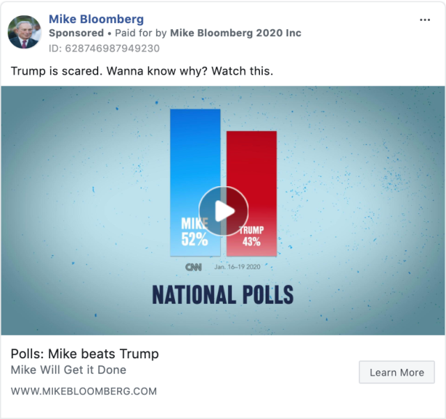 """a Facebook ad from Mike Bloomberg's presidential campaign that says """"Trump is scared. Wanna know why? Watch this."""" and """"Polls: Mike beats Trump"""" and """"Mike will get it done"""" with an image of bars showing poll results."""