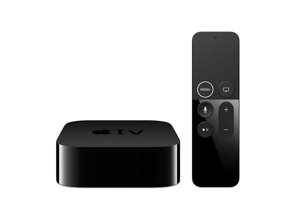 """<p><strong>Apple</strong></p><p>amazon.com</p><p><strong>$179.00</strong></p><p><a href=""""https://www.amazon.com/dp/B075NCMLYL?tag=syn-yahoo-20&ascsubtag=%5Bartid%7C2089.g.864%5Bsrc%7Cyahoo-us"""" rel=""""nofollow noopener"""" target=""""_blank"""" data-ylk=""""slk:Shop Now"""" class=""""link rapid-noclick-resp"""">Shop Now</a></p><p>The Apple TV 4K supports not only UHD resolution, but also HDR 10, Dolby Vision, and Dolby Atmos standards for an even more immersive viewing experience. You can stream 4K movies from iTunes, Netflix, and Amazon Prime.</p><p>Best of all, the gadget comes with free year Apple TV+ streaming. The tech giant's own streaming service has an excellent selection of high-quality content. Of course, the streaming device will also give you access to an excellent selection of apps and games, including Apple Arcade.</p><p><strong>More:</strong> <a href=""""https://www.bestproducts.com/tech/electronics/a1753/apple-tv-4k-review/"""" rel=""""nofollow noopener"""" target=""""_blank"""" data-ylk=""""slk:Our Review of the Apple TV 4K"""" class=""""link rapid-noclick-resp"""">Our Review of the Apple TV 4K</a></p>"""