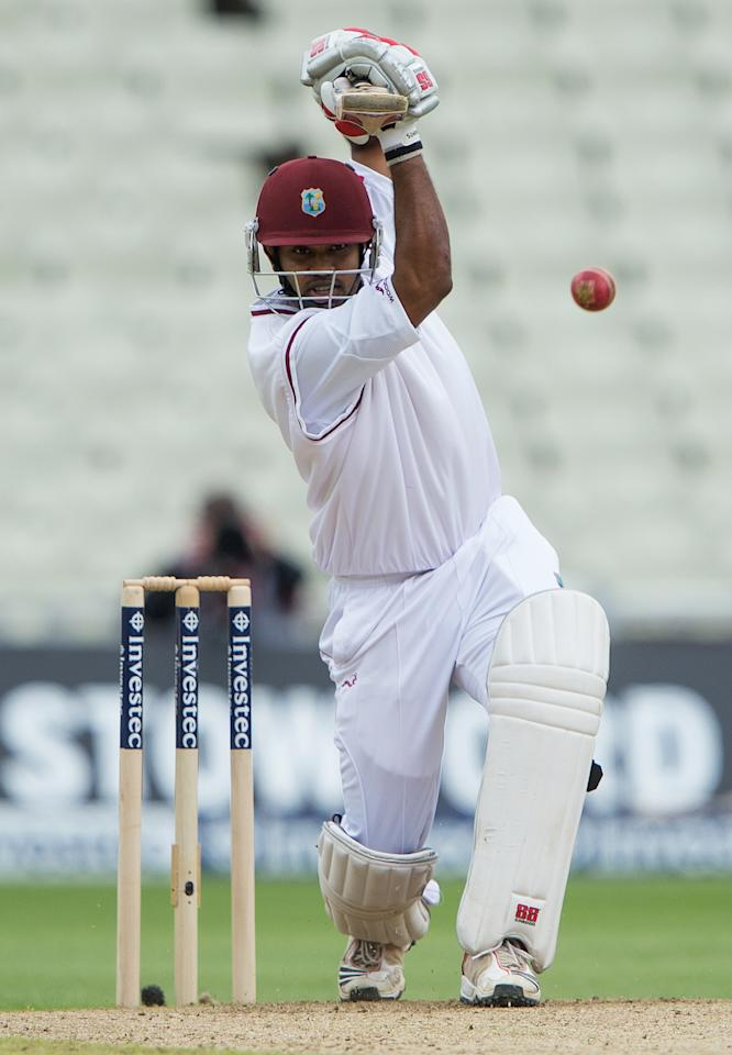 West Indies Adrian Barath bats during the third day of the third cricket Test match between England and West Indies at Edgbaston in Birmingham, central England, on June 9, 2012. AFP PHOTO/ANDREW YATES  *** RESTRICTED TO EDITORIAL USE. NO ASSOCIATION WITH DIRECT COMPETITOR OF SPONSOR, PARTNER, OR SUPPLIER OF THE ECB ***        (Photo credit should read ANDREW YATES/AFP/GettyImages)