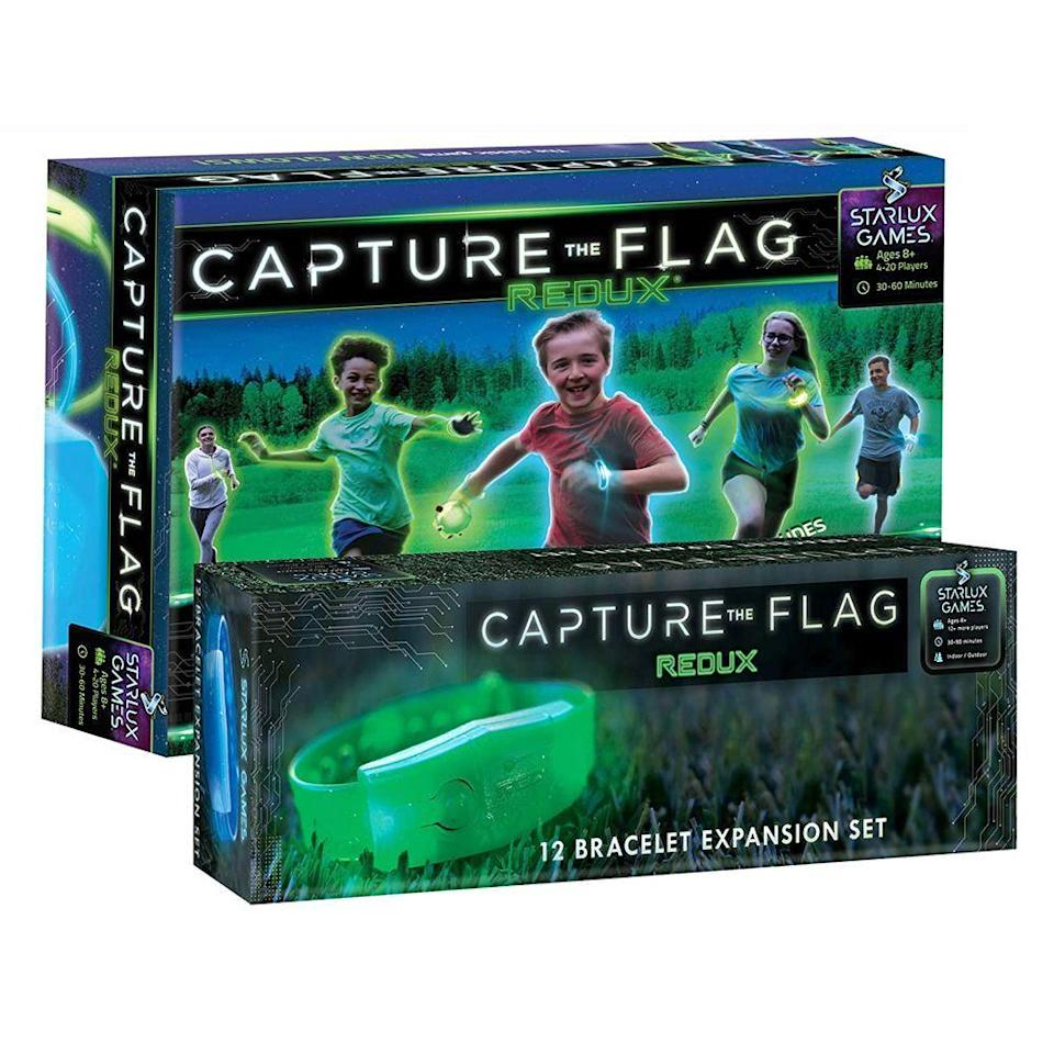 "<p><strong>Capture the Flag REDUX</strong></p><p>amazon.com</p><p><strong>$69.90</strong></p><p><a href=""https://www.amazon.com/dp/B08MBCC4DN?tag=syn-yahoo-20&ascsubtag=%5Bartid%7C2089.g.1576%5Bsrc%7Cyahoo-us"" rel=""nofollow noopener"" target=""_blank"" data-ylk=""slk:Shop Now"" class=""link rapid-noclick-resp"">Shop Now</a></p><p>This updated glow-in-the-dark version of Capture the Flag is a thrilling lawn game that all ages can enjoy. The playing field is set up with illuminated markers that, as one reviewer put it, make your yard look like a ""living video game.""</p><p>Players hide illuminated green and blue orbs instead of flags and must cross into enemy territory to steal their orb and bring it back to home base without getting tagged. This superset allows up to 20 players at one time!</p>"