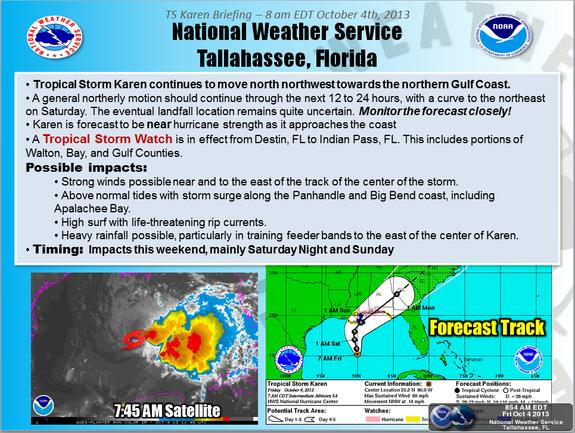 Tropical Storm Karen forecast track from the National Weather Service Forecast Office in Tallahassee, Fla.