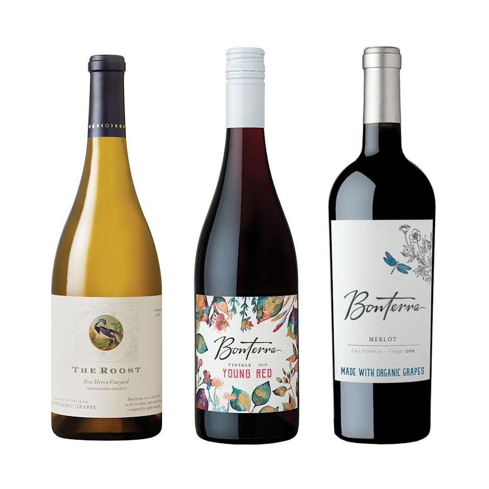 """<p>bonterra.com</p><p><strong>$72.00</strong></p><p><a href=""""https://www.bonterra.com/wines/give-thanks-trio/"""" rel=""""nofollow noopener"""" target=""""_blank"""" data-ylk=""""slk:Shop Now"""" class=""""link rapid-noclick-resp"""">Shop Now</a></p><p>Giving Tuesday is just around the corner (Dec. 1), and Bonterra Organic Vineyards will donate $1 of every bottle purchased on this day to the <a href=""""https://www.ccof.org/ccof-foundation/bricmont-hardship-assistance-fund"""" rel=""""nofollow noopener"""" target=""""_blank"""" data-ylk=""""slk:CCOF Bricmont Hardship Assistance Fund"""" class=""""link rapid-noclick-resp"""">CCOF Bricmont Hardship Assistance Fund</a>, the only fund in the U.S. to give direct financial support to organic producers suffering from extreme hardship including the tragic California fires this year. Our pick: <a href=""""https://www.bonterra.com/wines/the-butler/"""" rel=""""nofollow noopener"""" target=""""_blank"""" data-ylk=""""slk:2014 The Butler"""" class=""""link rapid-noclick-resp"""">2014 The Butler</a>, which is a velety Syrah, perfect for a holiday feast.<br></p>"""