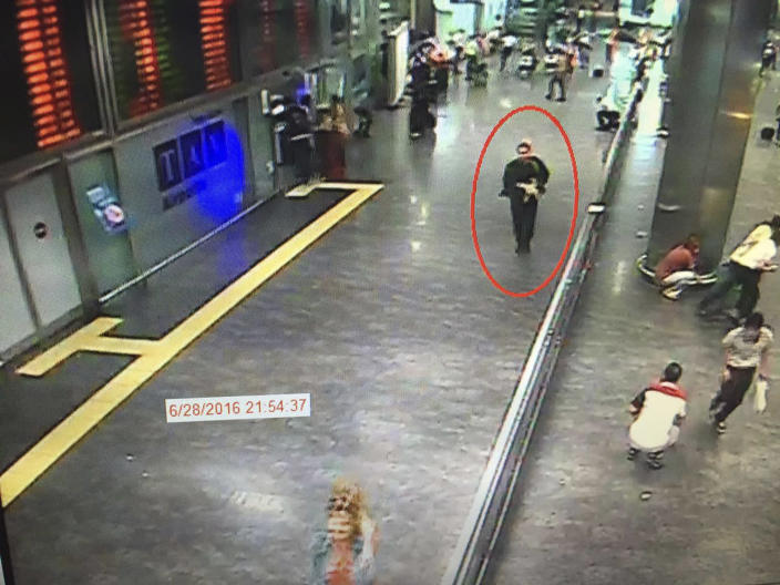 <p>In this framegrab from CCTV video, made available by the Turkish Haberturk newspaper on Thursday, June 30, 2016, a man, circled, believed to be one of the attackers walks in Istanbul's Ataturk airport, Tuesday June 28, 2016. (Haberturk newspaper via AP Photo) </p>