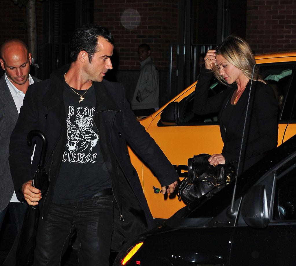 "Later, the lovebirds headed off to fancy restaurant Il Mulino for dinner. Do you think Justin is cuter then Jen's ex hubby Brad Pitt? James Devaney/<a href=""http://www.wireimage.com"" target=""new"">WireImage.com</a> - September 15, 2011"
