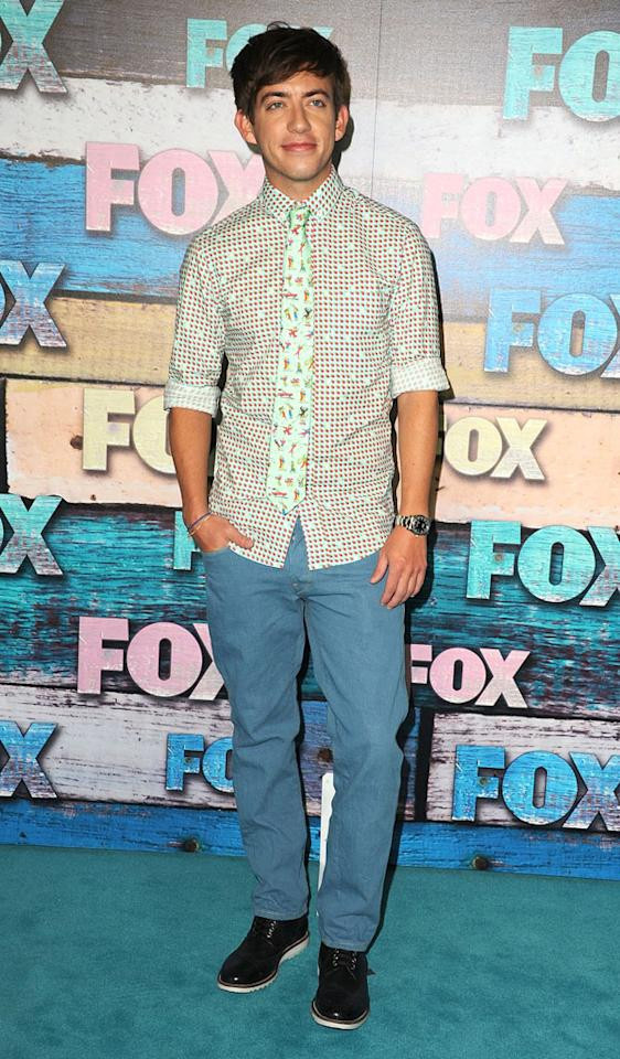 "Kevin McHale (""Glee"") arrives at the Fox Summer 2012 All-Star Party on July 23, 2012 at the Soho House in West Hollywood, California."