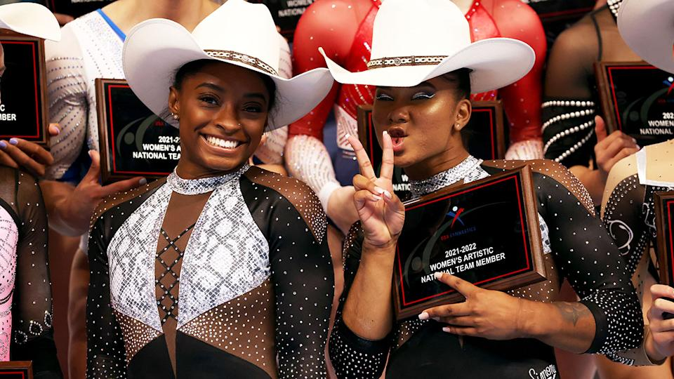 Simone Biles and Jordan Chiles, pictured here celebrating after the US Gymnastics Championships.