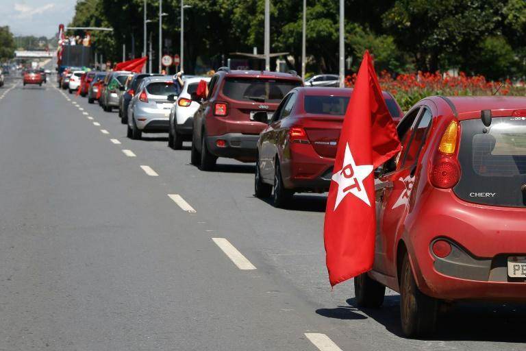 A caravan with flags of leftist political parties took part in a protest in Brasilia against the government's handling of the Covid-19 pandemic; there were similar protests in other Brazilian cities hard-hit by the disease